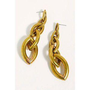 NWT Free People Serefina Link Dangle Earrings Gold